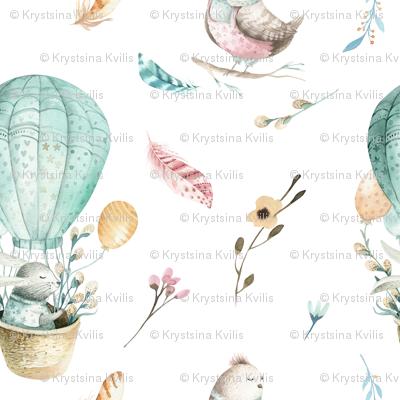 Watercolor bunny and bird