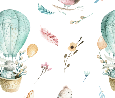 Watercolor bunny and bird fabric by peace_shop on Spoonflower - custom fabric