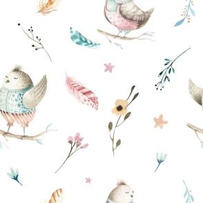 Watercolor bunny and bird 3