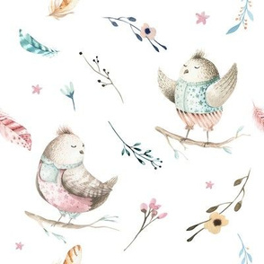 Watercolor bird. Nursery design