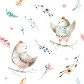 Watercolor bird. Nursery design