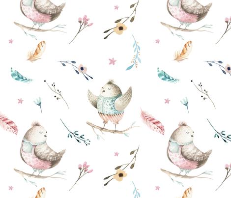 Watercolor bird nursery design 2 fabric peace shop for Bird nursery fabric