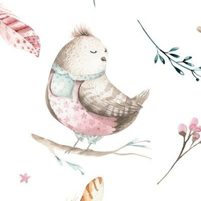 Watercolor bird. Nursery design 2