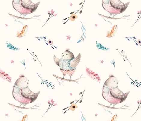 Watercolor bird nursery design 3 fabric peace shop for Bird nursery fabric