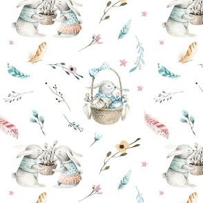 Watercolor bunnies. Nursery design 2