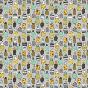 Pineapple Geometric on Grey Tiny Small