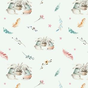 Watercolor bunny. Boho floral 4