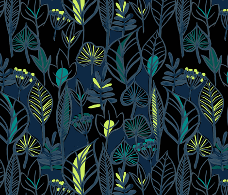 Midnight Jungle fabric by laura_may_designs on Spoonflower - custom fabric