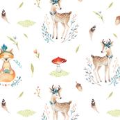 Watercolor baby deer and fox