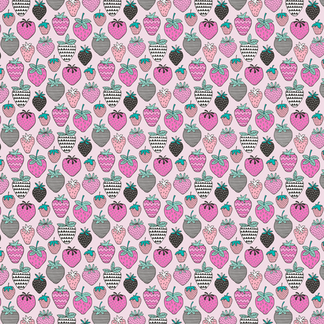 Strawberries Strawberry Geometric in Pink Tiny Small fabric by caja_design on Spoonflower - custom fabric