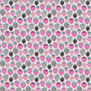 Strawberries Strawberry Geometric in Pink Tiny Small