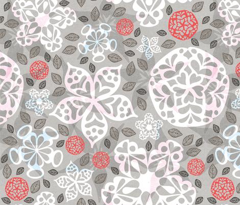 Papercut Valentine Flowers fabric by krissymadrid on Spoonflower - custom fabric