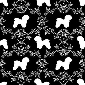 Bichon Frise floral silhouette dog fabric pattern black