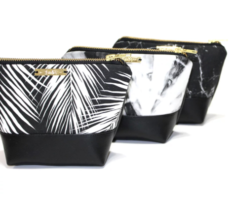 palm leaves - white on black, silhuettes tropical forest black white simple hot summer palm plant tree leaves fabric wallpaper giftwrap