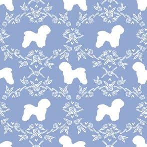 Bichon Frise floral silhouette dog fabric pattern cerulean