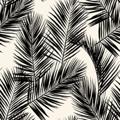 palm leaves - black on cream, small. silhuettes tropical forest black cream off-white hot summer palm plant tree leaves fabric wallpaper giftwrap