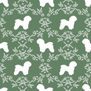 Bichon Frise floral silhouette dog fabric pattern med green