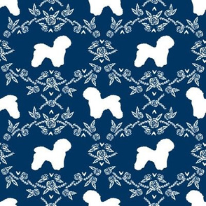 Bichon Frise floral silhouette dog fabric pattern navy