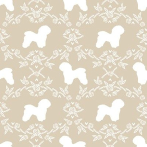 Bichon Frise floral silhouette dog fabric pattern sand