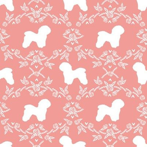 Bichon Frise floral silhouette dog fabric pattern sweet pink