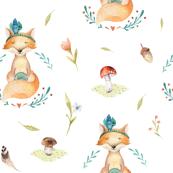 Watercolor cute fox. Boho forest