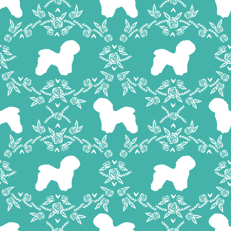 Bichon Frise floral silhouette dog fabric pattern turquoise fabric by petfriendly on Spoonflower - custom fabric