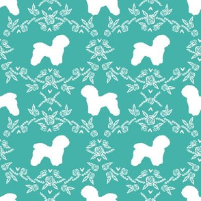 Bichon Frise floral silhouette dog fabric pattern turquoise