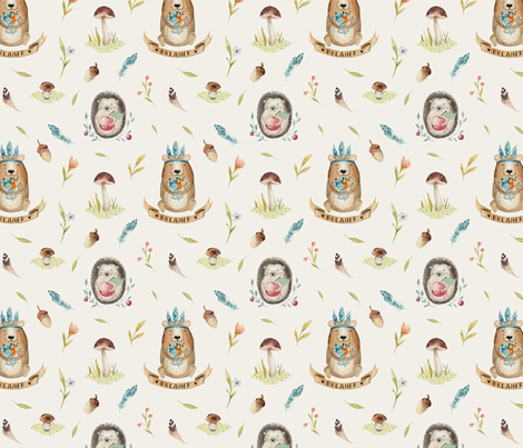 Watercolor bear  and hedgehog. Boho forest 3 fabric by peace_shop on Spoonflower - custom fabric