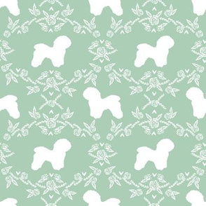 Bichon Frise floral silhouette dog fabric pattern mint