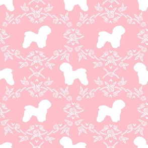 Bichon Frise floral silhouette dog fabric pattern pink