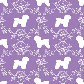 Bichon Frise floral silhouette dog fabric pattern puprle