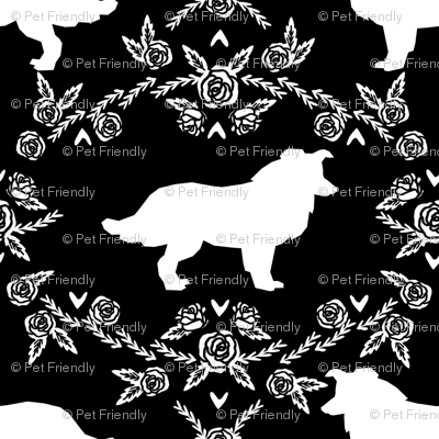 Border Collie floral silhouette dog fabric pattern black
