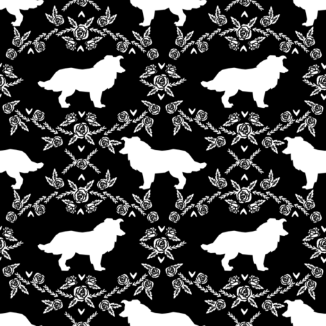 Border Collie floral silhouette dog fabric pattern black fabric by petfriendly on Spoonflower - custom fabric