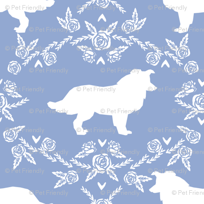 Border Collie floral silhouette dog fabric pattern cerulean
