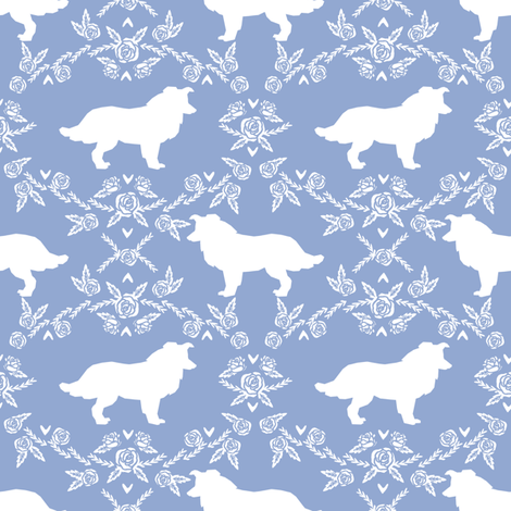 Border Collie floral silhouette dog fabric pattern cerulean fabric by petfriendly on Spoonflower - custom fabric