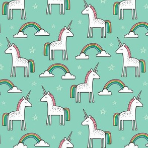 Cute Unicorn Rainbow in Mint 2 inch Smal Tiny