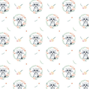 Watercolor cute raccoons pattern