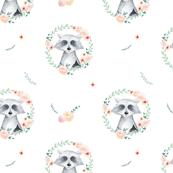 Watercolor cute raccoons pattern