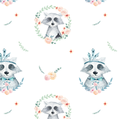 Watercolor cute raccoons