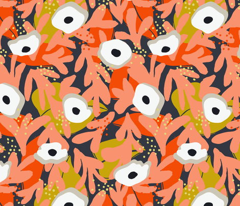 Spring Papercut Floral Orange and Mustard fabric by tiffanyheiger on Spoonflower - custom fabric