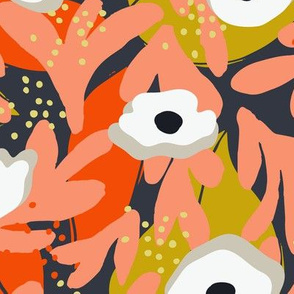 Spring Papercut Floral Orange and Mustard