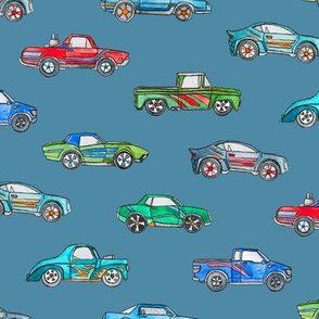 Little Toy Cars in Watercolor on Blue