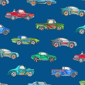 Little Toy Cars in Watercolor on Dark Blue