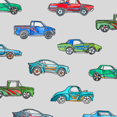 Little Toy Cars in Watercolor on Grey fabric by micklyn on Spoonflower - custom fabric
