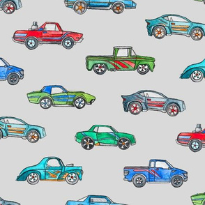 Little Toy Cars in Watercolor on Grey