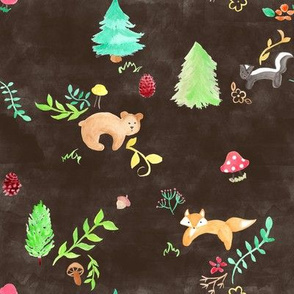 Forest Animals on Brown
