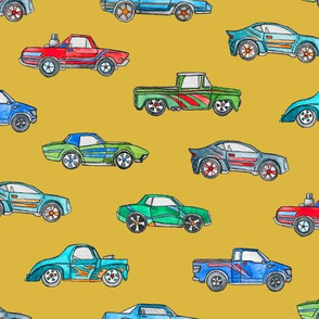 Little Toy Cars in Watercolor on Mustard