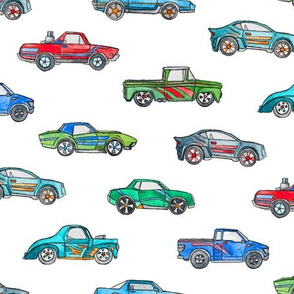 Little Toy Cars in Watercolor on Clean White