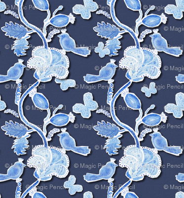 Paper cut  birds and flowers on dark blue