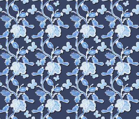 Paper cut  birds and flowers on dark blue fabric by magic_pencil on Spoonflower - custom fabric